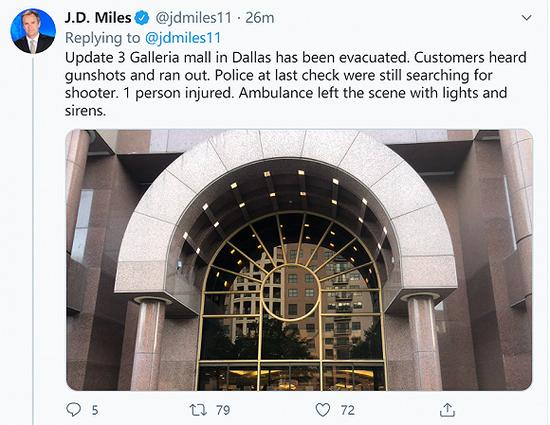 美国达拉斯一商场发生枪击,伤亡人数不明
