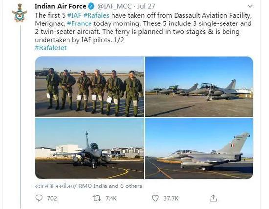 """""""阵风""""的到来让印度空军喜形于色"""