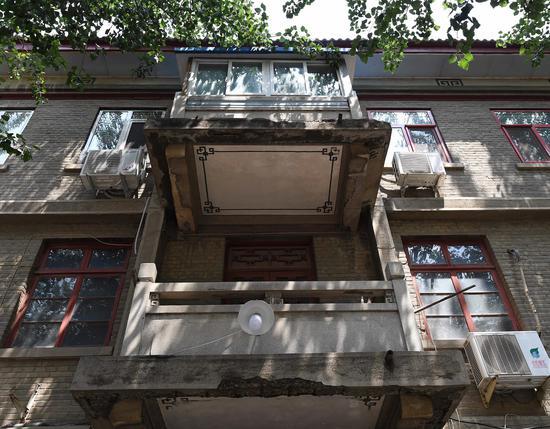 科源社区14号楼老式风格的阳台设计。 新京报记者 陶冉 摄