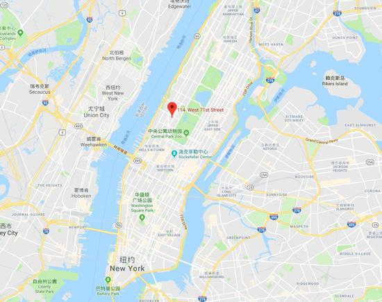 谷歌地图截图:红点处即为该公寓的位置。