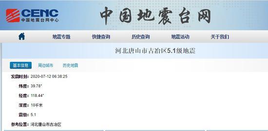 天富河北唐山发生51级地震北天富京震感明显图片