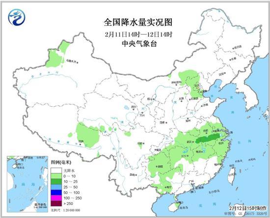 全國降水量實況圖(2月11日14時—12日14時) 來源 中央氣象臺