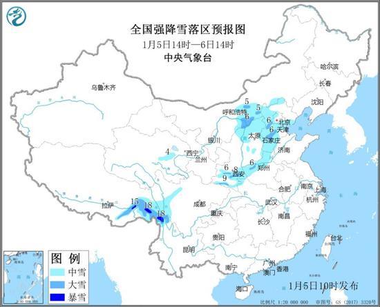暴雪预警 北京西部等地有中到大雪图片