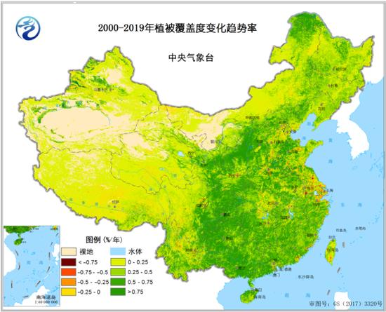 2000-2019年植被笼罩度转变趋势率