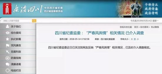 四川省纪委监委网站截图