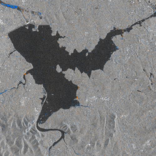 8月8日台风前和8月20日台风后的变化检测,冶源水库,雷达图像