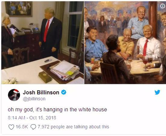 """▲网友感叹""""它真的挂在白宫""""图据美国《时代》杂志"""
