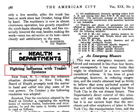 """1918年科普兰在《美国城市》杂志撰文解释""""公交抗疫""""。"""