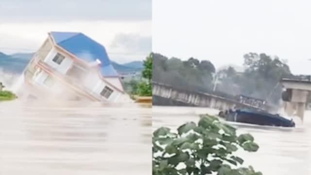 暴雨引发洪水 江西鄱阳一栋楼被瞬间冲毁  砂石船撞桥墩致梁板坠河