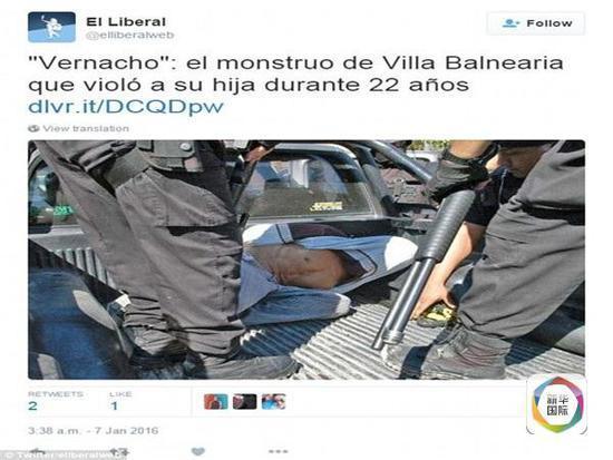 """阿根廷《自在报》交际网站颁布""""兽父""""多明戈・布利西奥被捕画面。(图像来历:互联网)"""