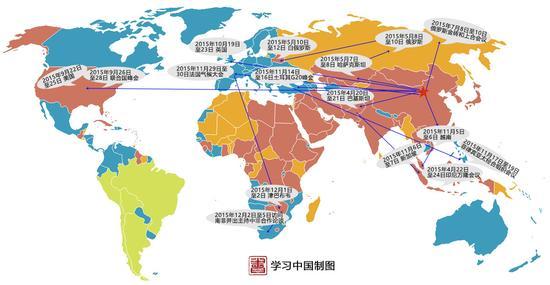 图为:2015年习近平外交足迹