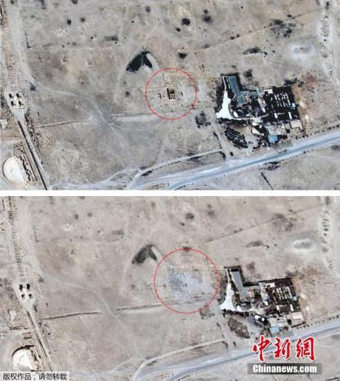 当地时间2015年8月27日,叙利亚帕尔米拉,卫星云图显示遭IS极端武装炸毁前后的巴尔-夏明神庙地区对比图。