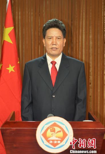 """3月28日,西藏自治区主席洛桑江村通过媒体发表""""西藏百万农奴解放纪念日电视讲话""""。 旦增 摄"""