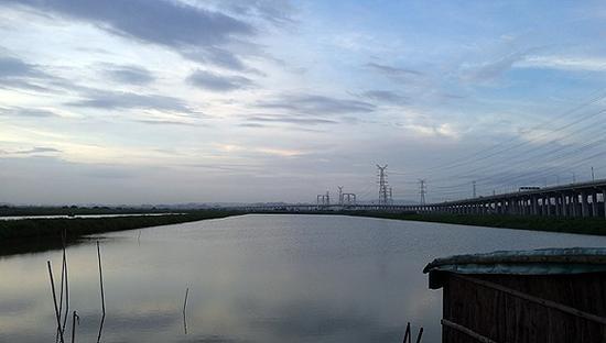 沿江高速以西是<a href=../ep/?%CC%EE%BA%A3--1.htm>填海</a>区。摄影:梁宙