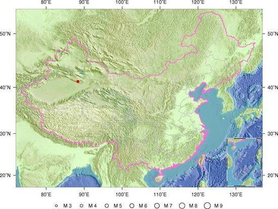 7月20日9时41分新疆巴音郭楞州尉犁县发生4.0级地震