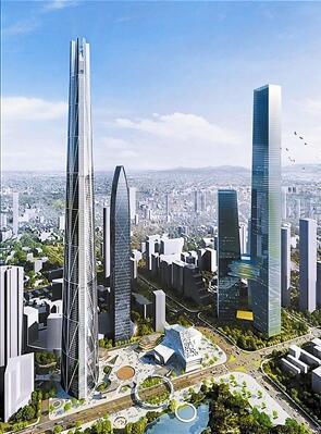 """相较于""""H700深圳塔"""",深圳之前的几栋高楼只能到它的半腰。右为""""H700深圳塔""""效果图。来源:""""心罗湖·新罗湖""""城市更新网站"""