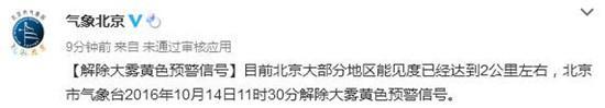 北京气象局:解除大雾黄色预警信号