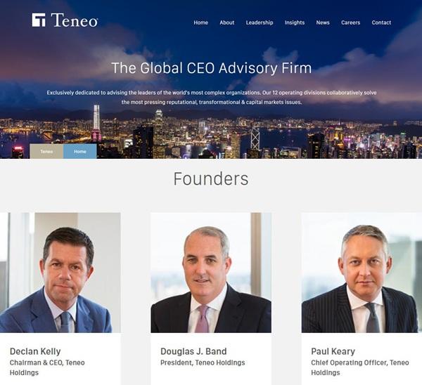 Teneo资本的官网,道格·班德(中间)是目前的总裁