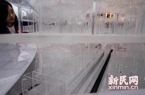 卫星厅模型图。新民晚报记者陈梦泽摄