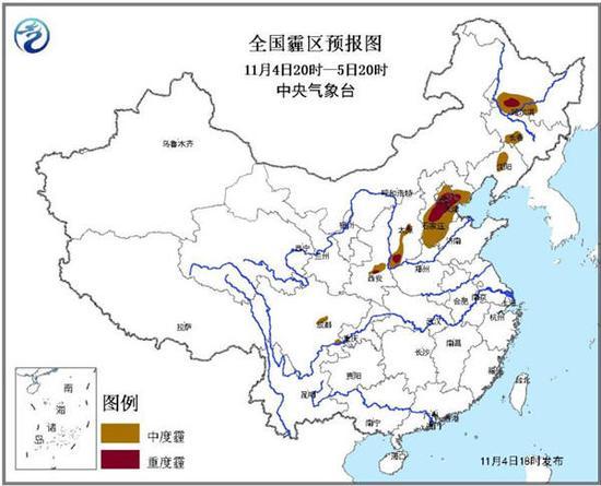 中央气象台发霾橙色预警:京津冀部分地区重度霾