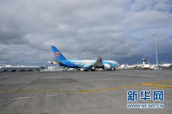 中国南方航空公司执飞新西兰奥克兰至中国广州的波音