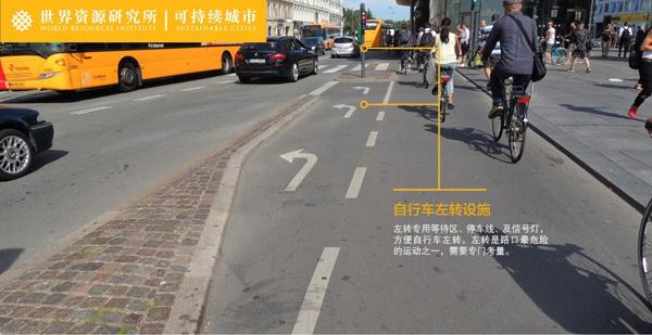 自行车专用左转道及信号。