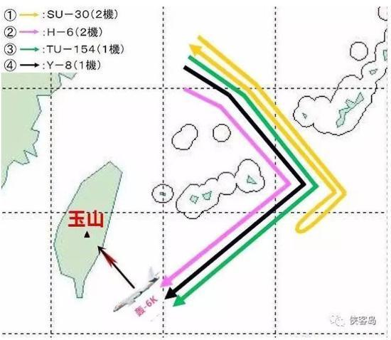日本防卫省公布的中国军机飞行线路