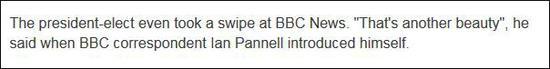 """当BBC记者提问时,特朗普讽刺""""这又是个尤物(奇葩)"""""""