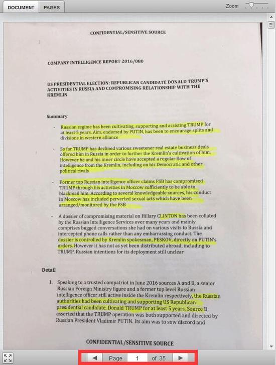 Buzzfeed昨天还公布35页指控特朗普在俄罗斯涉及性活动遭录影文件(Buzzfeed网站截图)