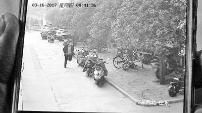 入室盗窃男子逃跑时的监控画面