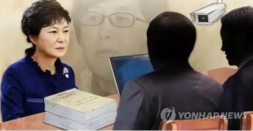朴槿惠受讯问示意图(韩联社)