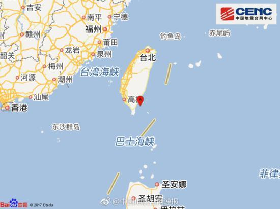 台湾台东县海域发生4.0级地震 震源深度10千米