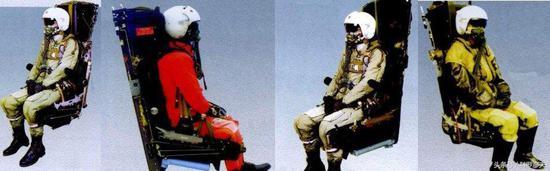 图片:我军的几型火箭弹射救生座椅,从左至右分别为:TY5型,TY6C型,TY6M型,TY7型