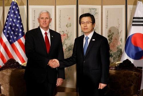 美国副总统彭斯和韩国代总统黄教安欧门旗舰店