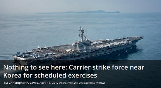《防务新闻》的标题是,和韩国联合演习的航母打击大队?那边根本啥都没有好么