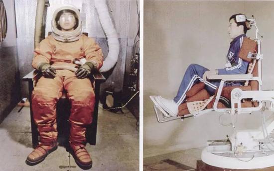 上世纪70年代,中国从空军选拔的航天员候选人在进行模拟训练