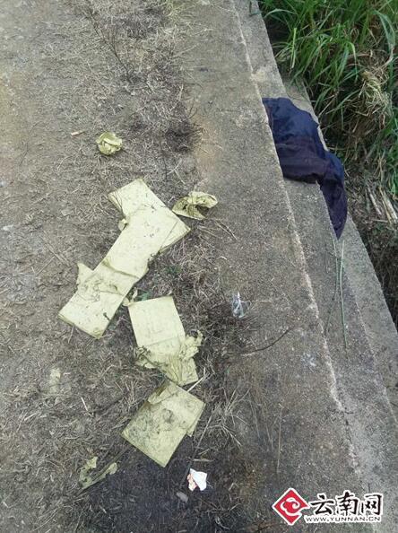 河边祭祀的纸钱。