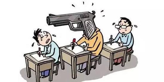 """▲关于替考""""枪手""""的调侃漫画 图据网络"""