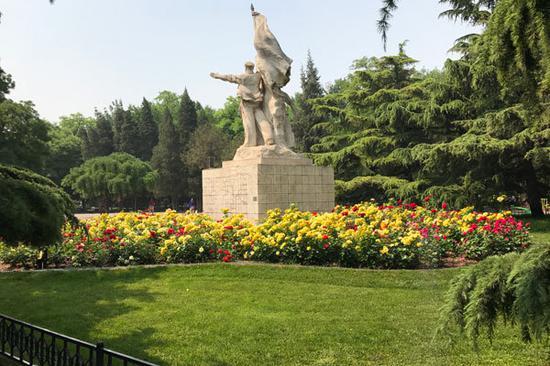 图:东单公园内新增设美丽花坛