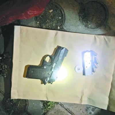 嫌疑人作案的枪支。