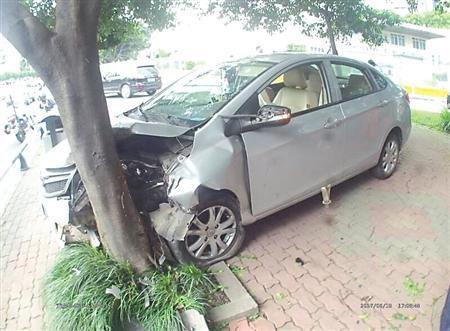 女司机图凉快穿拖鞋开车 鞋卡油门处撞上行道树