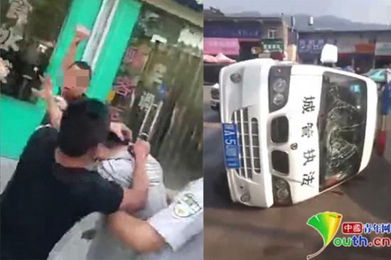 商贩持砖击打城管队员。视频截图