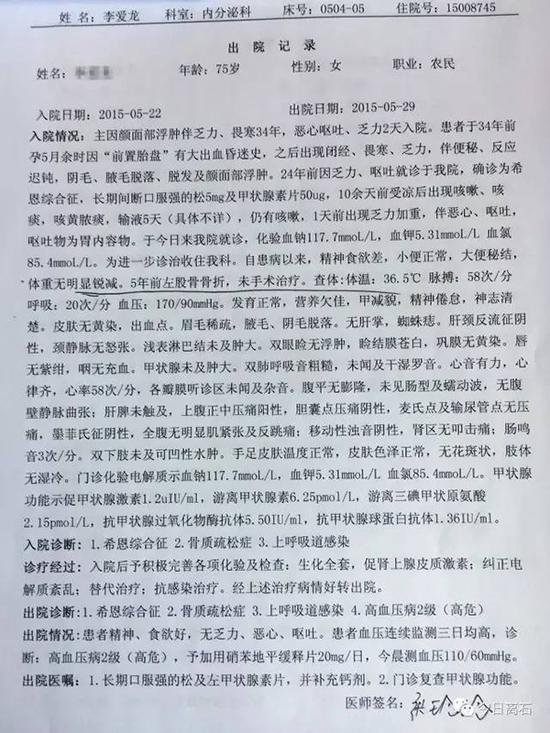 李某在市医院诊断患有骨质疏松症的有关病历(2)。