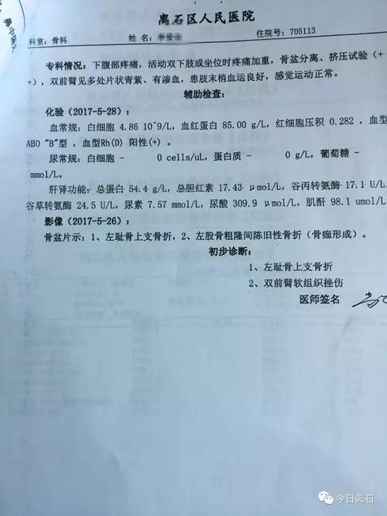 李某区医院诊断书。