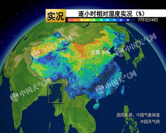 昨天下午14点,华北、黄淮等地的相对湿度在50%左右,体感闷热。