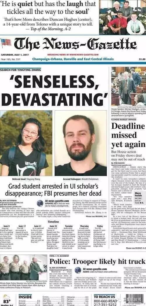 ▲章莹颖被绑架一案同样引发美国媒体关注。