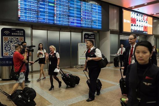 ▲达美航空此次航班的机组职员谢绝接收媒体采访。