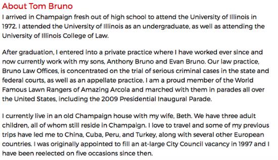 美国香槟市政府官网上显示的TomBruno的个人资料。(官网截图)