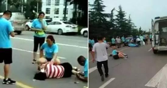 """7月8日清晨,山东临沂市一辆出租车撞上行进中的""""暴走""""队伍,致一死两伤。"""