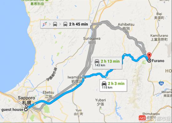 札幌距离富良野只有100多公里,2个小时车程